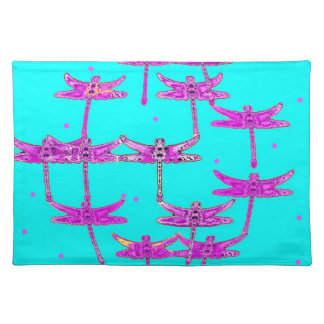 Turquoise-Purple Dragonfly Gifts by Sharles Place Mats