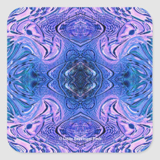 Turquoise Purple Glass Abstract Square Sticker