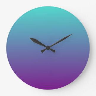Turquoise Purple Ombre Large Clock
