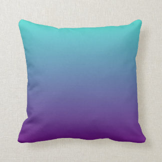 Turquoise Purple Ombre Throw Pillow