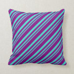 [ Thumbnail: Turquoise & Purple Pattern Throw Pillow ]