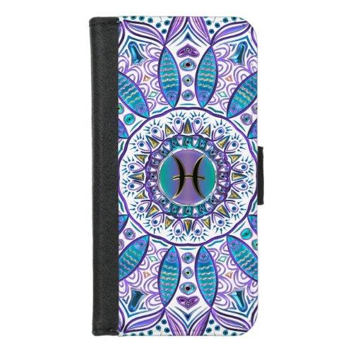 Turquoise Purple Pisces Mandala iPhone Wallet Case Phone Case