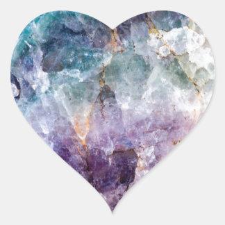 Turquoise & Purple Quartz Crystal Heart Sticker