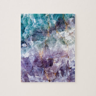 Turquoise & Purple Quartz Crystal Jigsaw Puzzle