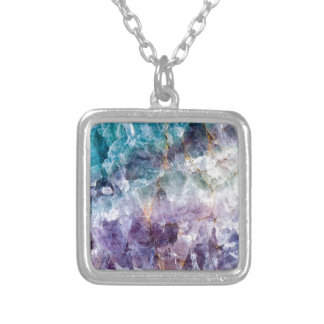 Turquoise & Purple Quartz Crystal Silver Plated Necklace