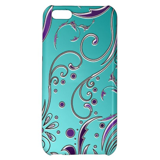 Turquoise Purple Swirl Cover For iPhone 5C
