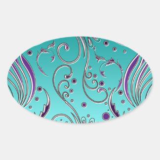 Turquoise Purple swirl Oval Sticker