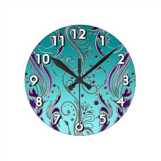 Turquoise Purple swirl Round Clock