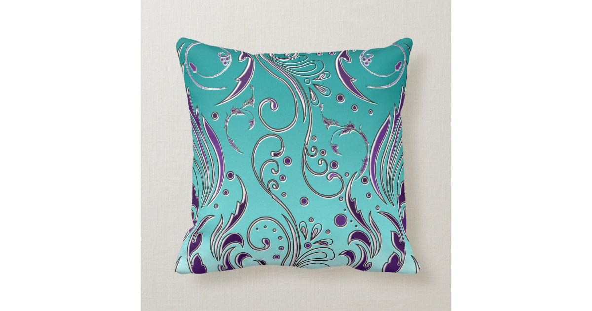 Turquoise And Purple Decorative Pillows : Turquoise Purple swirl Throw Pillow Zazzle