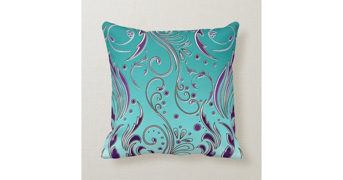 Turquoise Down Throw Pillows : Turquoise Purple swirl Throw Pillow Zazzle