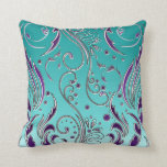 "Turquoise Purple swirl Throw Pillow<br><div class=""desc"">Turquoise background with purple flourishes</div>"