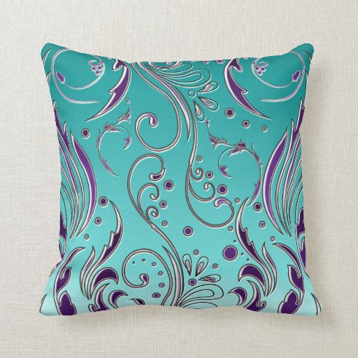 Turquoise And Purple Decorative Pillows : Purple Bedroom Ideas - Purple Throw Pillows
