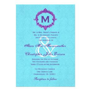 Turquoise Purple Vintage Monogram Wedding V022 Custom Invite