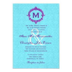 Turquoise Purple Vintage Monogram Wedding V022 5x7 Paper Invitation Card
