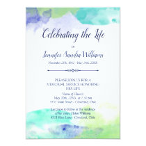 Turquoise & Purple Watercolor Celebration of Life Card