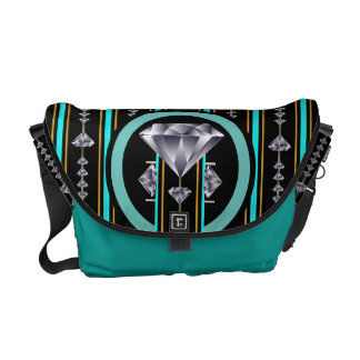 Turquoise Quad Diamond Courier Bags