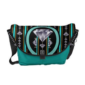 Turquoise Quad Diamond Messenger Bag
