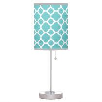 Turquoise Quatrefoil Desk Lamp