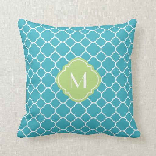 turquoise quatrefoil pattern with monogram throw pillow