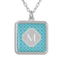 Turquoise Quatrefoil Pattern with Monogram Silver Plated Necklace