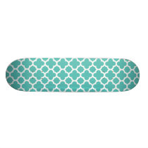 Turquoise Quatrefoil Trellis Pattern Skateboard Deck