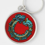 Turquoise Quetzalcoatl Silver-Colored Round Keychain