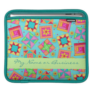 Turquoise Quilt Block Personalized iPad Sleeve