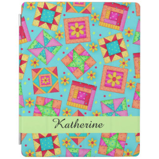Turquoise Quilt Patchwork Block Name Personalized iPad Cover