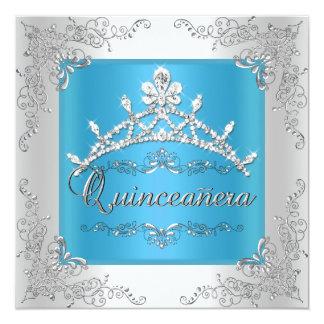 "Turquoise Quinceanera 15th Birthday Silver Tiara 5.25"" Square Invitation Card"