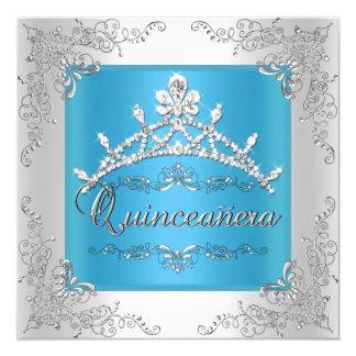 Turquoise Quinceanera 15th Birthday Silver Tiara 5.25x5.25 Square Paper Invitation Card