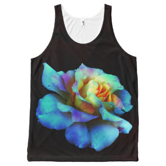 Turquoise Rainbow Rose All Over Print Tank Top All-Over Print Tank Top
