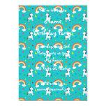 Turquoise rainbow unicorn hearts stars pattern 5x7 paper invitation card