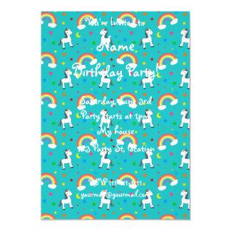"Turquoise rainbow unicorn hearts stars pattern 5"" x 7"" invitation card"