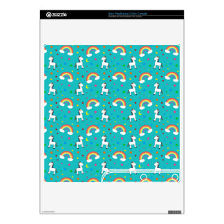 Turquoise rainbow unicorn hearts stars pattern decal for PS3 slim