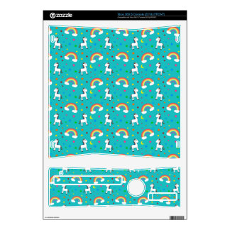 Turquoise rainbow unicorn hearts stars pattern skins for xbox 360 s