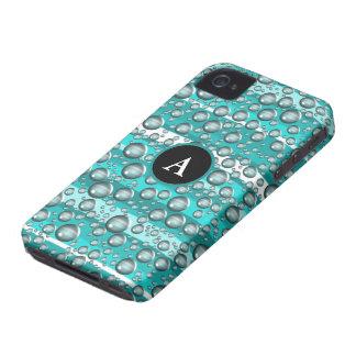 turquoise raindrops iPhone 4 case