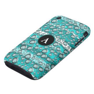 turquoise raindrops monogram tough iPhone 3 case