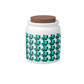 Turquoise Record Player Houndstooth Candy Jar
