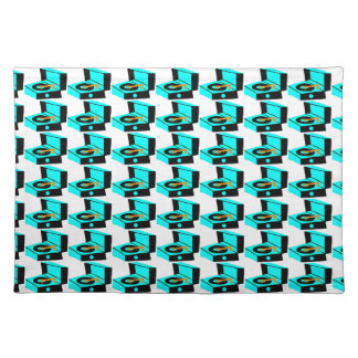 Turquoise Record Player Houndstooth Cloth Placemat