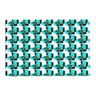 Turquoise Record Player Houndstooth Placemat Laminated Place Mat