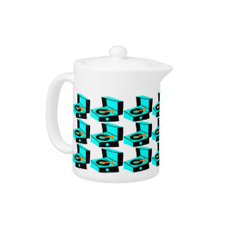 Turquoise Record Player Houndstooth Teapot