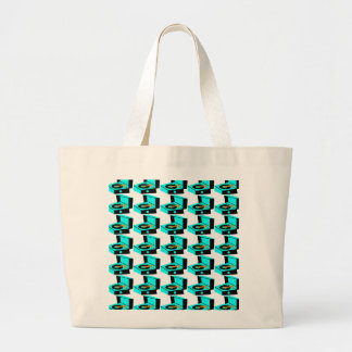 Turquoise Record Player Houndstooth Tote Bag