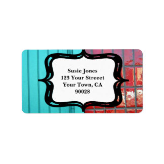 Turquoise Red Abstract Label