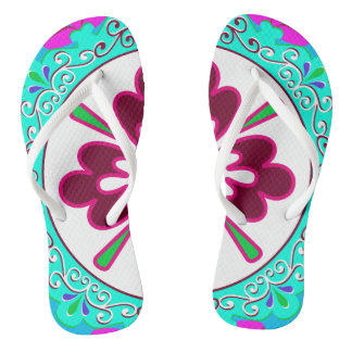 Turquoise, Red and White Plate pattern Flip Flops