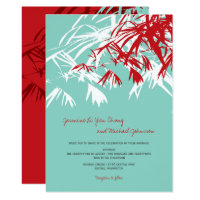 Turquoise Red Bamboo Leaves Asian Wedding Invite