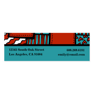 Turquoise Red Black High Fashion Boutique Designer Double-Sided Mini Business Cards (Pack Of 20)
