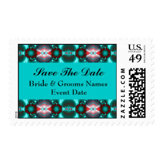 turquoise red black save the date postage