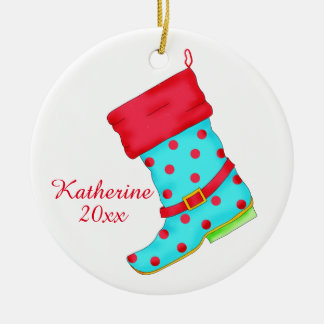 Turquoise Red Boot Art Shoe Lover Christmas Name Ceramic Ornament