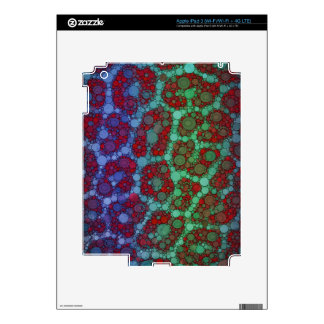 Turquoise Red Cheetah Abstract Decals For iPad 3