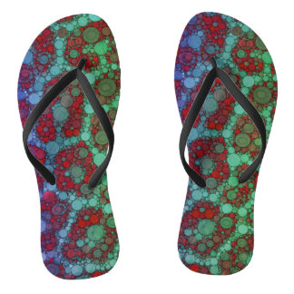 Turquoise Red Cheetah Abstract Flip Flops